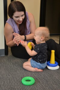 child playing at speech therapy